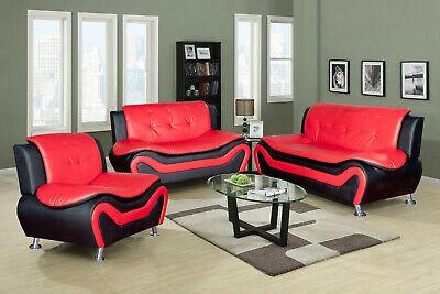 Beverly Fine Furniture F4503 3-Piece Aldo Modern Sofa Set - Black/Red Modern Black Leather Sofa