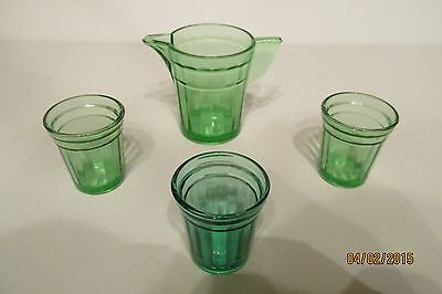 Vintage Set Of Akro Agate Green Uranium Glass Childrens Pitcher & Three Tumblers