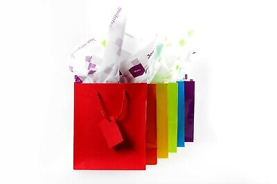 Colored Paper Bags (Bright Assorted Colored Glossy Paper Gift Treat Party Bags With Handles)