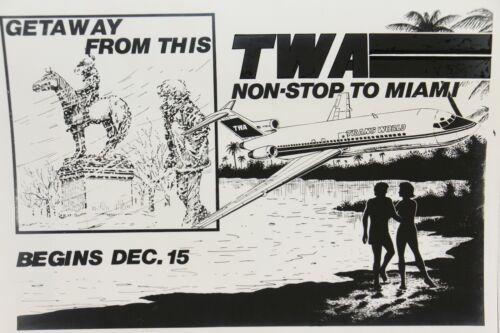 ORIGINAL Vintage TWA Trans World Airlines Advertising Art Transparency Miami