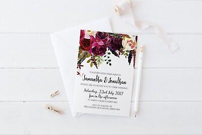 BOHO Autumn Watercolour Floral Woodland Wedding Invitation Stationery SAMPLE ()