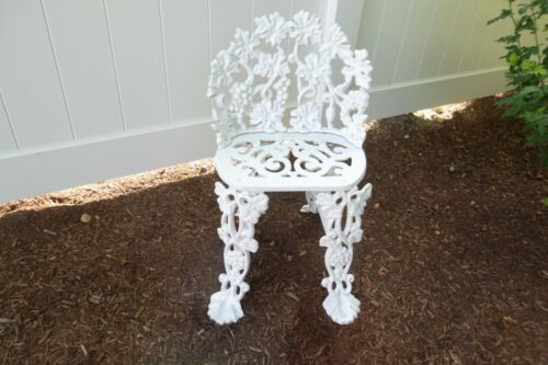Antique Vintage Sm Cast Iron Garden Chair Grapevine White Fresh Paint SO SWEET
