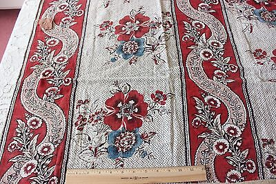 Antique French 18thC Hand Blocked Toile de Jouy Printed Linen Textile Fabric