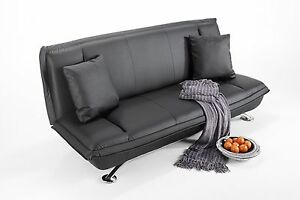 The Picasso Stylish Faux Leather 2 Seater Sofa Bed on Chrome Feet
