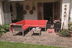 Polyrattan Lounge Set RED stapelbar Sitzgruppe Gartenmöbel Garnitur Alu Gruppe