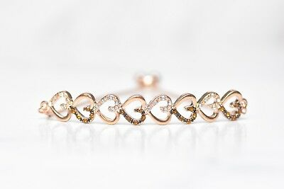 14K ROSE GOLD PAVE BROWN CHAMPAGNE Crystal ROPE OPEN BANGLE CUFF