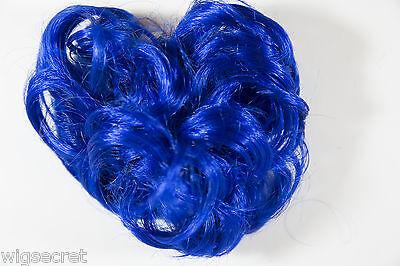 - Dark Blue Fun Color Short Wavy Curly Scrunchie Accessories