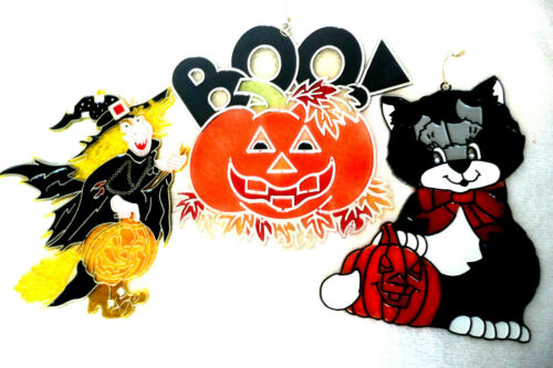 3 Vintage Halloween Plastic Window Suncatchers Witch Black Cat Pumpkin