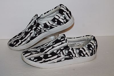 Peter Piloto Slip On Casual Sneakers, Black/White/Grey, Womens US Size 9