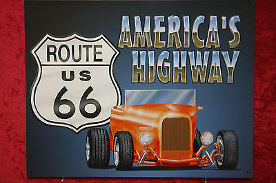 Highway Route 66 Hot Rod (Americas Highway Route 66 Hot Rod V8 Blechschild Reklame Ford Roadster USA)
