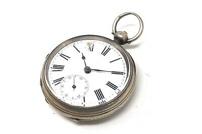 Heavy Antique Victorian Solid Silver Key Wind Pocket Watch Spares 112g #27613