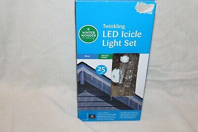 TWINKLING BLUE LED ICICLE LIGHT STRINGS WHITE WIRE INDOOR/OUTDOOR 25 CT NEW