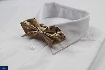 DIAMOND SHAPE MENS GOLD CREAM GRID SOLID BOW TIE PRE-TIED MEN'S BOWTIE WEDDING Diamond Mens Tie