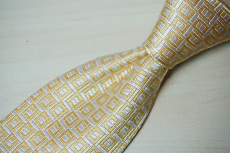 Charvet tournesol ivoire géométrique tissé soie cravate made in france