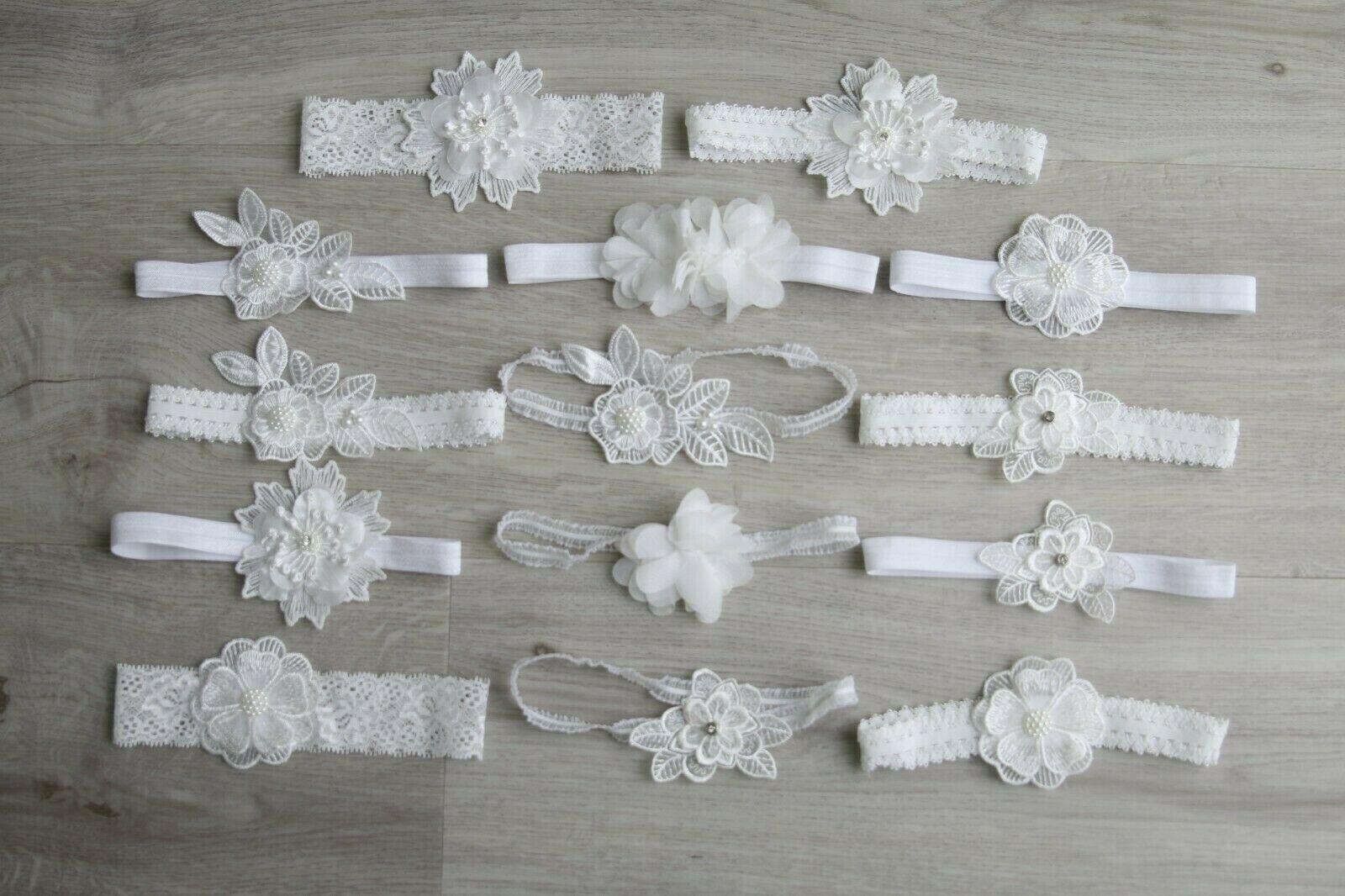 Baby Mädchen Stirnband Lace Blume Spitzen Hochzeit Taufe Haarband Kopfband Hand