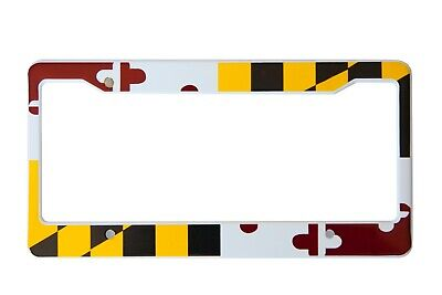 Maryland Flag License Plate Frame, High-grade painted 304 Stainless Steel ()