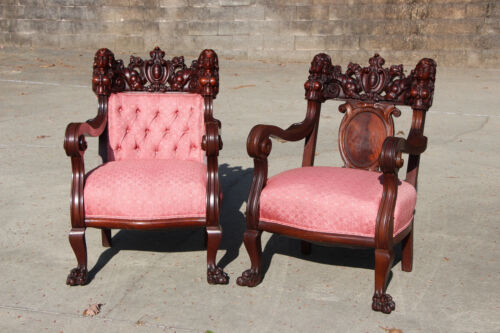 Spectacular Pair of Heavily Carved Karpen Mahogany Maiden Arm Chairs ~ Ca.1890