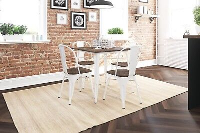 Industrial Small Dining Table Vintage Distressed White Metal Country Kitchen ()