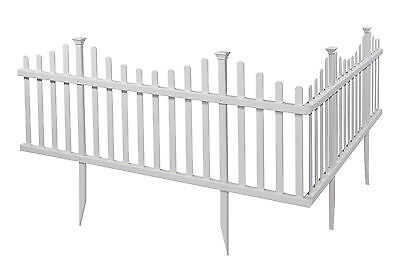 Zippity Outdoor Products Madison No Dig Vinyl Picket Garden Fence Set of 2