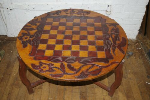 Antique Vintage Chess Checkers Backgammon Carved Wood Game Table Animals Folding