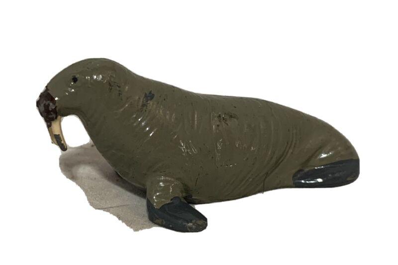 """Vintage Metal Walrus Toy Animal Mini Figure Figurine 1 1/8"""" Tall Unknown Maker"""