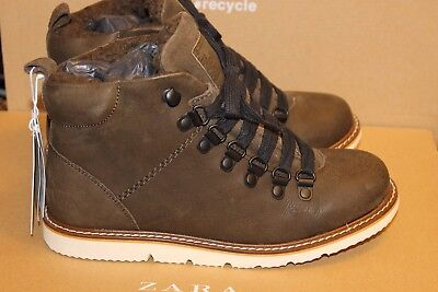 New Zara Kids Leather Mountain Ankle Boots Size 3 (35) Second item ship for free
