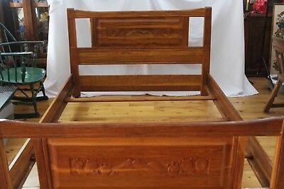Used, BRANDT Ranch Oak Vintage Carved Bed  Headboard Foot-board Complete Cactus Scene for sale  Temperance