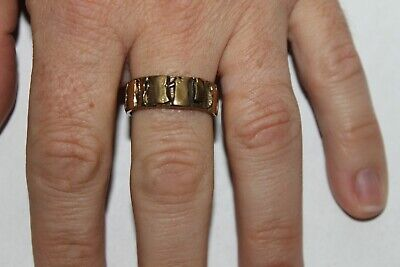 Men Vintage Fashion Abstract Border Design Ring Brass Band Jewelry Hippie](Mens Hippie Jewelry)