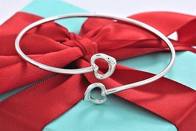 Tiffany & Co Elsa Peretti Silver Double Open Heart Bangle Bracelet w/Packaging