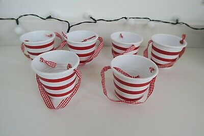 THE LITTLE WHITE COMPANY Christmas decorations / hanging buckets x 6 Used vg con ()