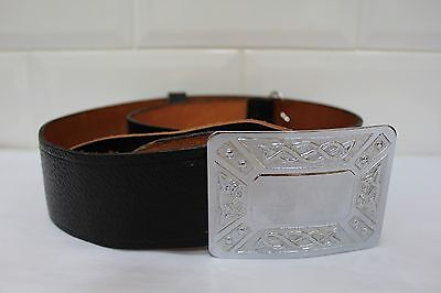 Real Genuine Leather Scottish Kilt Belt WITH  Buckle Highland Dress NEW