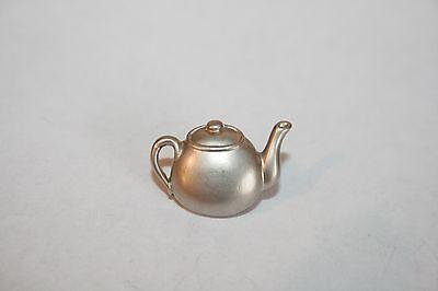 Brooch Lapel Pin - Small Coffee Tea Pot - Silver Tone