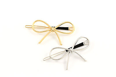 Haarklammer Haarspange Schleife Schleifchen gold silber Haarschmuck A438 ()
