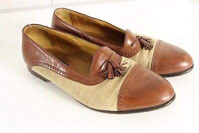 Vintage Bostonian Florentine Cap Toe Brown Leather Tan Burlap Loafer Shoes 11 W Cap Toe Loafer