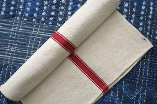 Antique European Hemp Grain Sack Gorgeous Christmas Red White Green Stripes