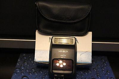 Minolta Vectis SF-1 Shoe Mount Flash for Konica Minolta Film Camera with case