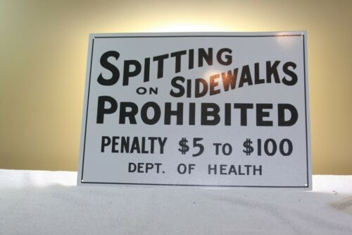 Nostalgic reproduction of vintage SPITTING ON SIDEWALKS Tin Sign Nice