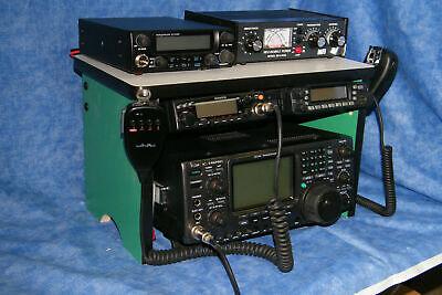 Green Radio Bench Mount Rack Stack or Holder Kenwood Yaesu Icom Mike Antenna 2