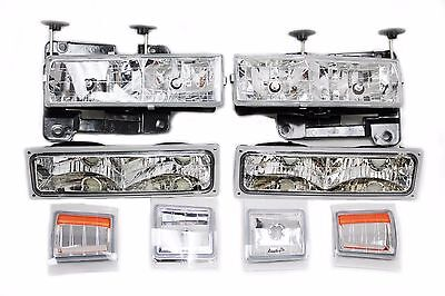 For 94-98 Chevy Truck Tahoe Suburband Headlight Bumper Light Corner Chrome (Heavy Duty Front Bumpers For Chevy Trucks)