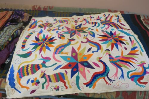 """VINTAGE MEXICAN OTOMI EMBROIDERY HANDMADE ETHNIC ART ANIMALS TAPESTRY 27""""x32"""""""