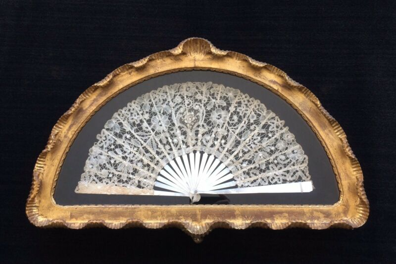 Antique Lace and Mother of Pearl Fan ~ framed