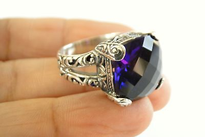 Ornate Purple Amethyst Solitaire 925 Sterling Silver Ring Size 6.5, 7, 8, 9 925 Sterling Silver Solitaire