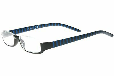 Lesebrille Damen Herren Halb-Rahmen Brille schwarz Ozean-blau gestreift eckig