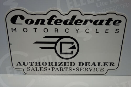 """CONFEDERATE MOTORCYCLE SALES, PARTS & SERVICE DEALER SIGN. 12"""" BY 20"""""""