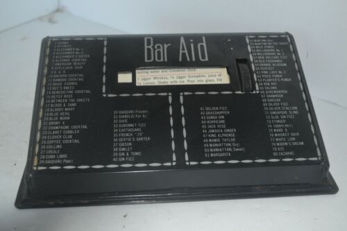 Vintage Tin 1950s BAR AID GUIDE Cocktail Drink Recipes A-Z mixed drinks