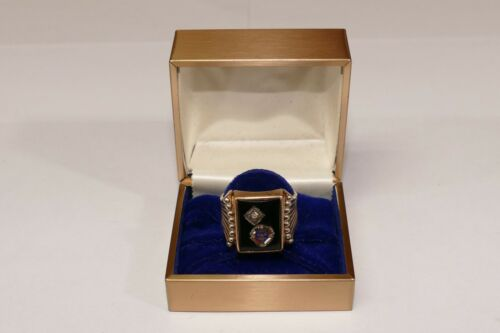 Vintage Knights of Columbus Signet Ring 10k Gold Onyx Diamond Size 11.5 - 7.25g