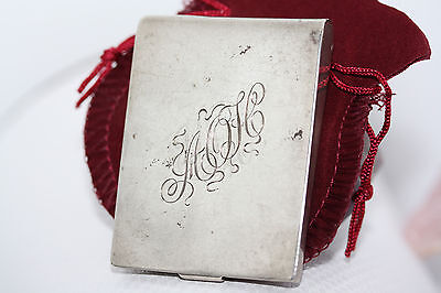 Antique Victorian Real 925 Sterling Silver Vesta Match Holder Case Initials AOH