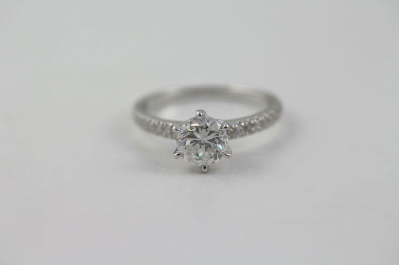 Outstanding 1.2 Ct D Vvs2 Round Diamond 14 K White Gold Accented Solitaire Ring