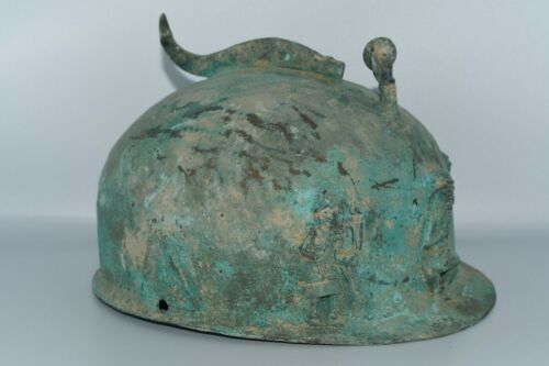 Genuine Large Ancient Bactrian Bronze Helmet with 3 Nobleman Figurine Inlays