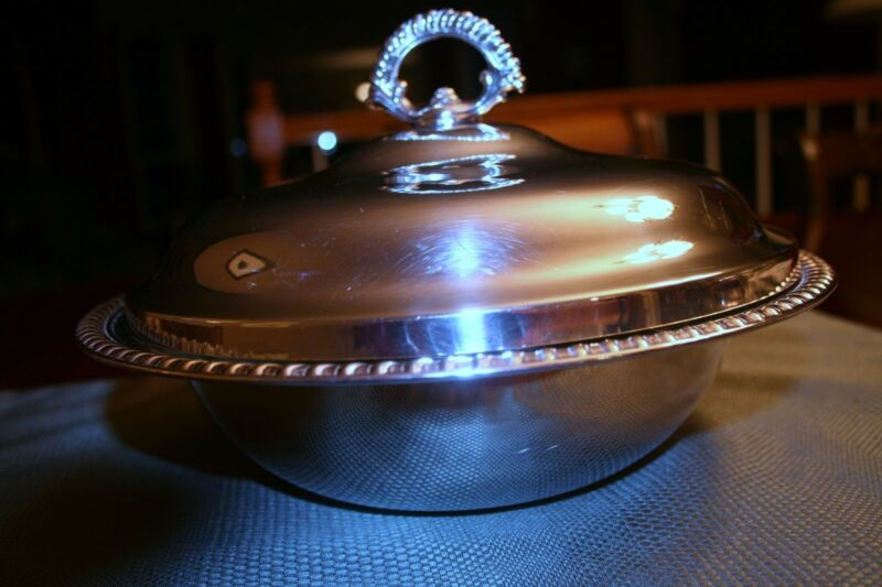 Vintage Fine Silver Covered Serving Dish with 1 1/2 Qt. Pyrex Glass Insert MINT